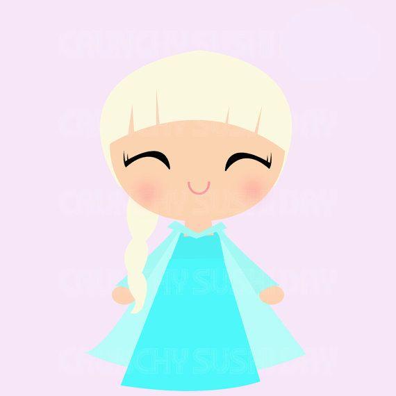 instant download princess elsa frozen cute by crunchysushiday rh pinterest com Frozen Character Clip Art Marval Clip Art