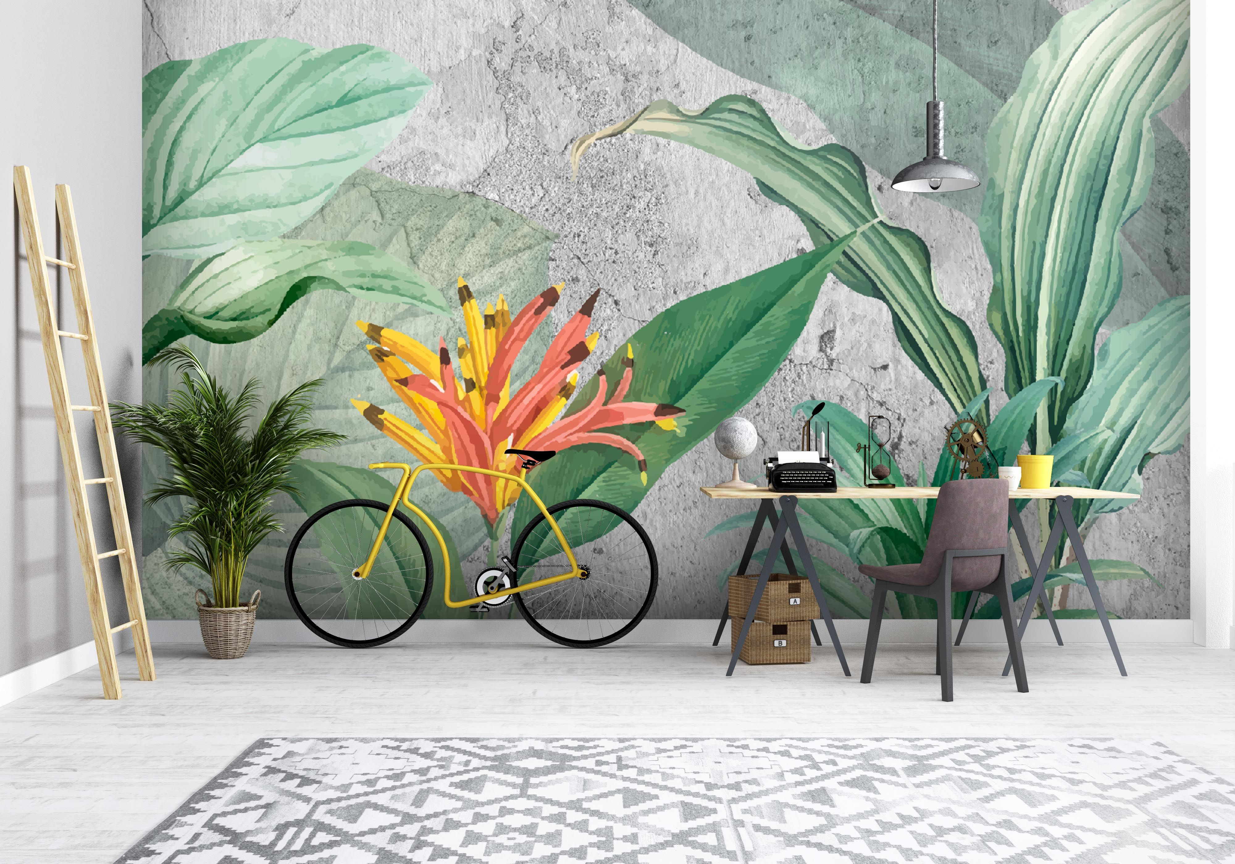 Concrete Leaves Wallpaper Mural Mural Mural Design Removable Wall Murals
