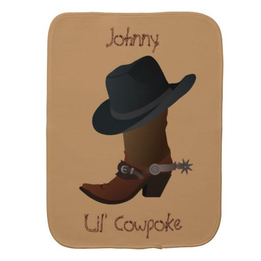 #Cowboy Boot and Hat Burp Cloth #baby
