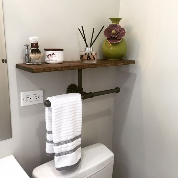double hand towel holder with shelf rustic bathroom