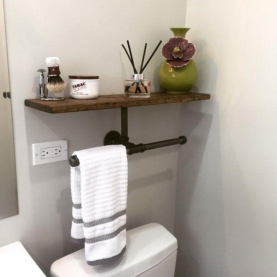 Double Hand Towel Holder With Shelf Rustic Bathroom Kitchen Modern Vanity Lake House Decor