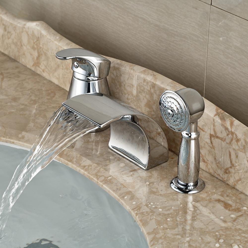 Bathroom faucet deck mounted brass bath spout modern bathroom faucets -  82 07 Watch More Here Modern Waterfall Curve Spout Roman Tub Faucet Deck