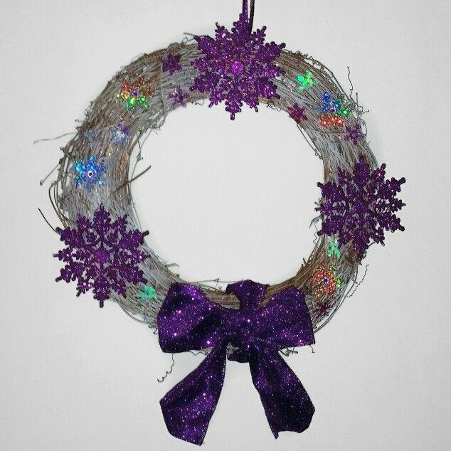 Purple snowflake wreath #wreath #christmas #xmas #purple