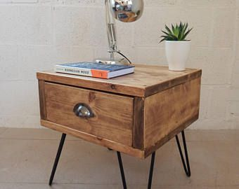 INDUSTRIAL BEDSIDE TABLE PAINTED HANDMADE RECLAIMED WOOD HAIRPIN LEGS SIDE TABLE
