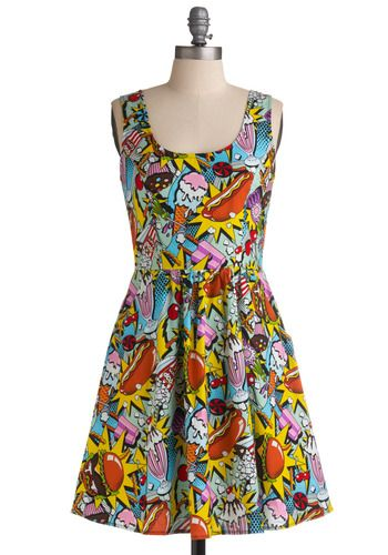 FOOD DRESS -- hotdogs, ice cream, popsicles, cupcakes and more in the print.