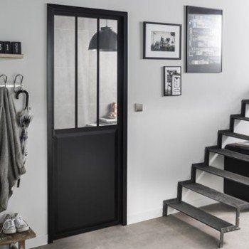 Bloc Porte Noir Atelier Verre Clair Artens H 204 X L 73 Cm Poussant Gauche Leroy Merlin Portes Vitrees Interieures Bloc Porte Porte D Atelier