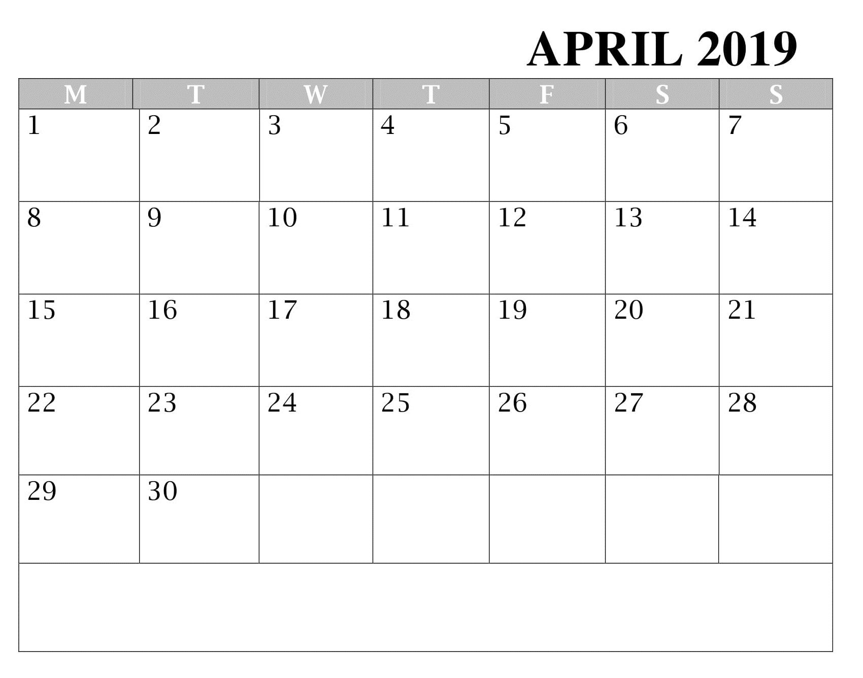 Blank April Calendar Worksheet
