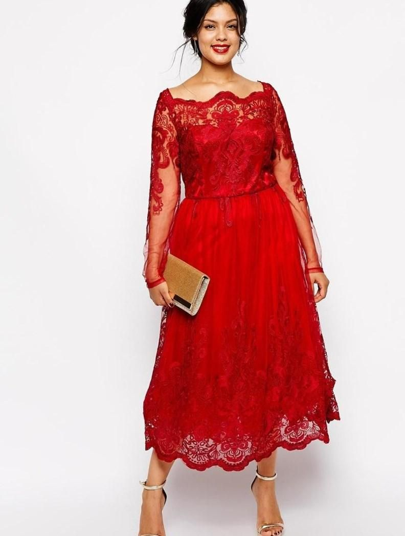 Vestidos de noche en color rojo para gorditas