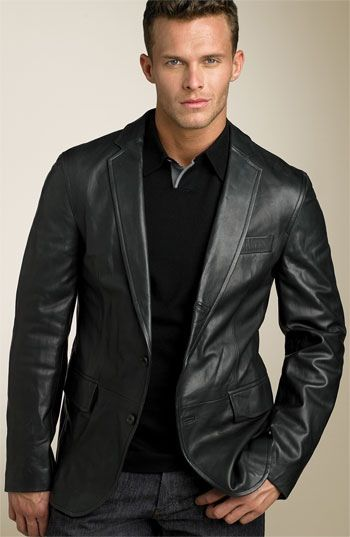 Black leather sport coat mens