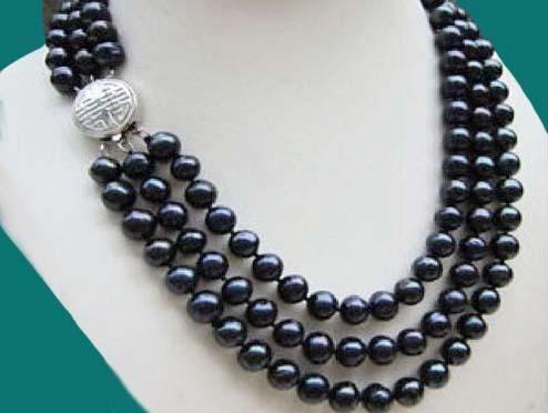 NEW GENUINE 9-10MM TAHITIAN BLACK PEARL BRACELET 7.5/'/'