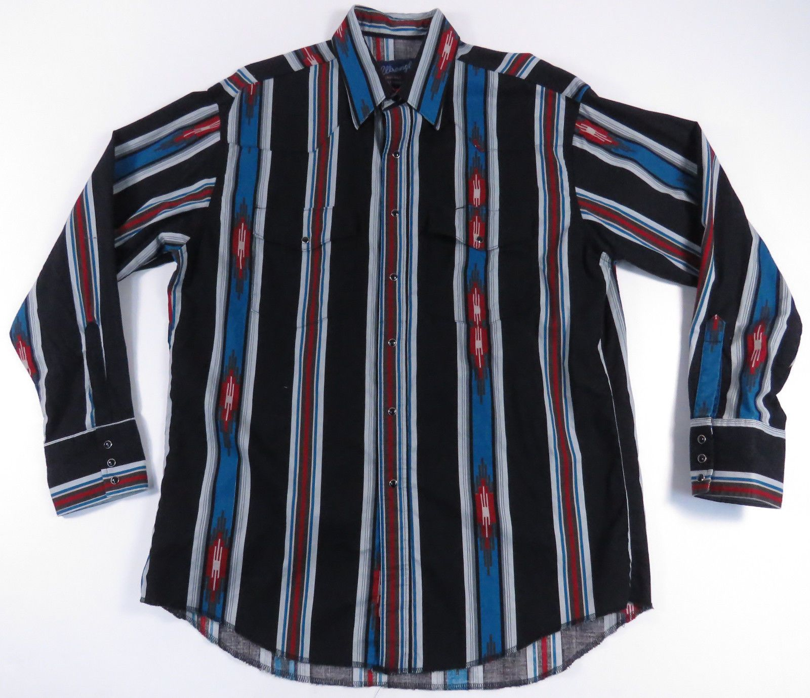 ce63211a5 VTG 80S 90S WRANGLER PEARL SNAP AZTEC STRIPED WESTERN COWBOY SHIRT RODEO  EUC L Rodeo Clothes