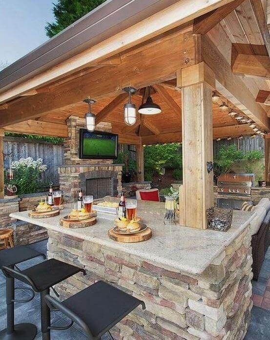 Dry Stone Wall Bar Backyard Patio Designs Backyard Gazebo