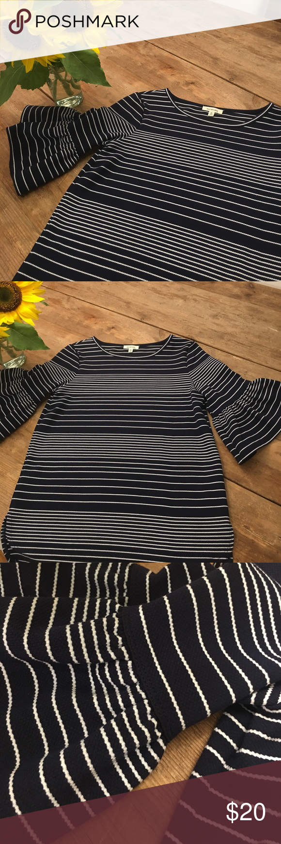 Woman's navy blue/white stripe top Navy and white stripe crew neck too!  Poly/spandex and rayon.  Super comfy and falls below hips. Cute sleeve details. Great with white jeans! Max Studio Tops Tees - Short Sleeve