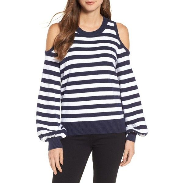 99db3743b27c1 Women s Michael Michael Kors Stripe Cold Shoulder Sweater (885 SEK) ❤ liked  on Polyvore featuring tops