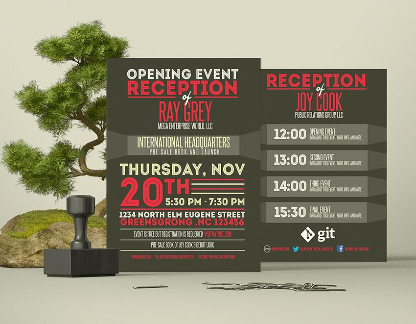 Event program template PSD with 2 different sides Catch the - event program template