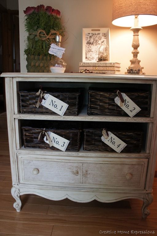 Repurposed Dresser Want To Do Something Like This With Ayla S And Have Baskets For Each Family Member Keep Mail School Papers In
