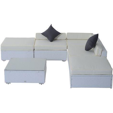 Salon de jardin canapé d\'angle résine tressée poly rotin alu blanc 6 ...