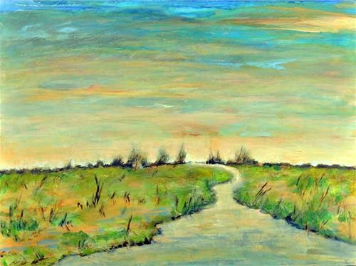 """Wetland Sunset"" - Original Fine Art for Sale - © Christine Klinger"