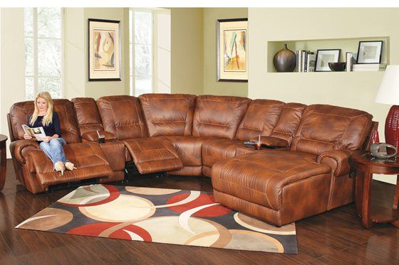 Kaneu0027s Furniture - Reno 7 Piece Power Reclining Bonded Leather Sectional : sectional recliner leather - islam-shia.org