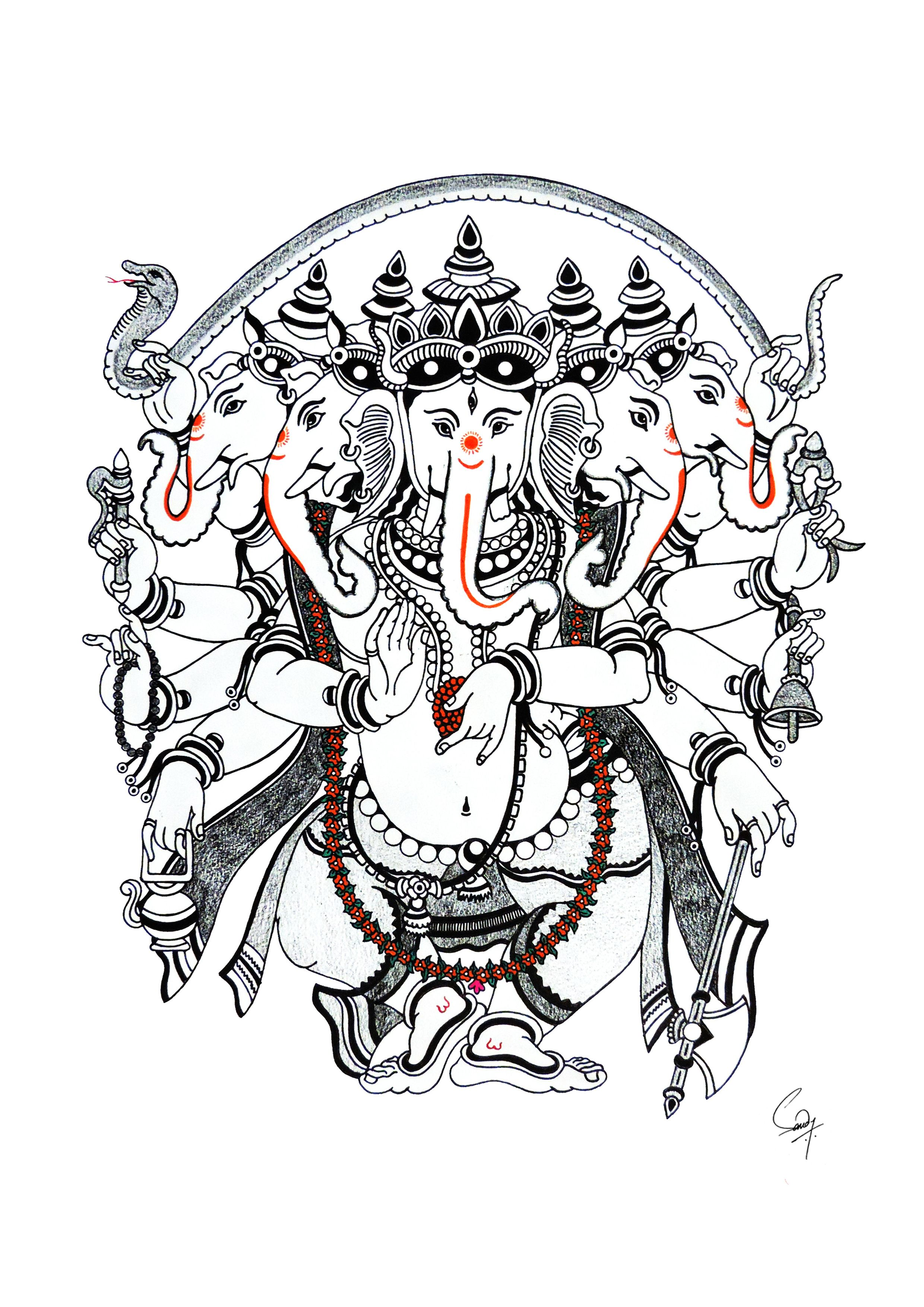 Ganpati Painting Panchmukha Ganesha Art Indian Art Paintings Ganesh Art