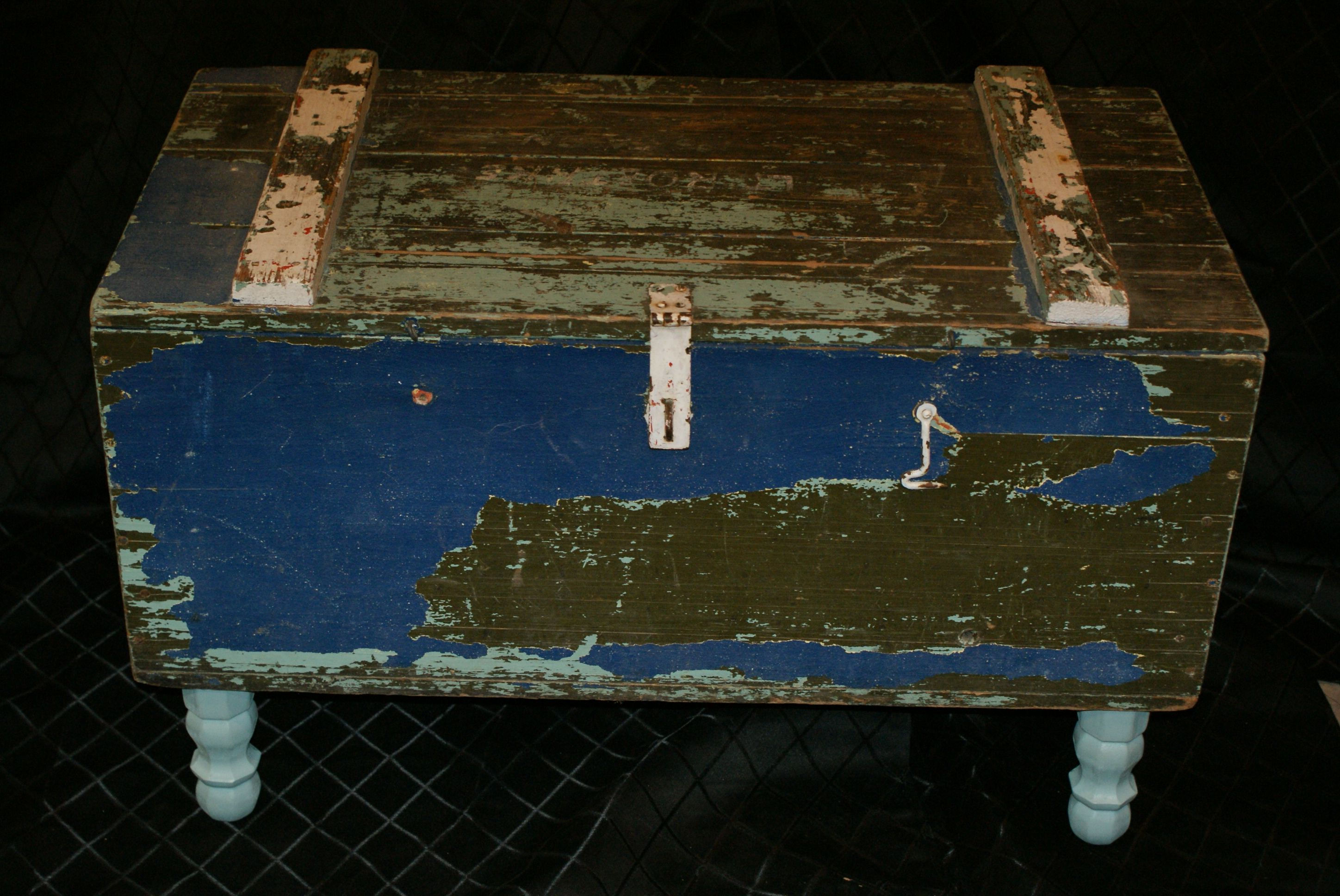 military footlocker turned coffee table. currently for sale on