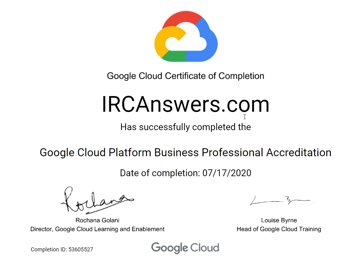 Google Cloud Platform Certification Exam Answers Cloud Platform Exam Answer Business Professional