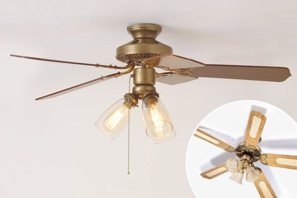 Newly Refurbished Ceiling Fan With Inset Of Ceiling Fan Before Ceiling Fan Ceiling Fan Diy Ceiling Fan Makeover