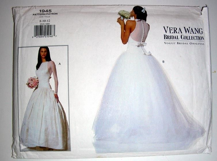 Vintage Vera Wang Bridal Dress Pattern 1945 Vogue Original Size 8 ...