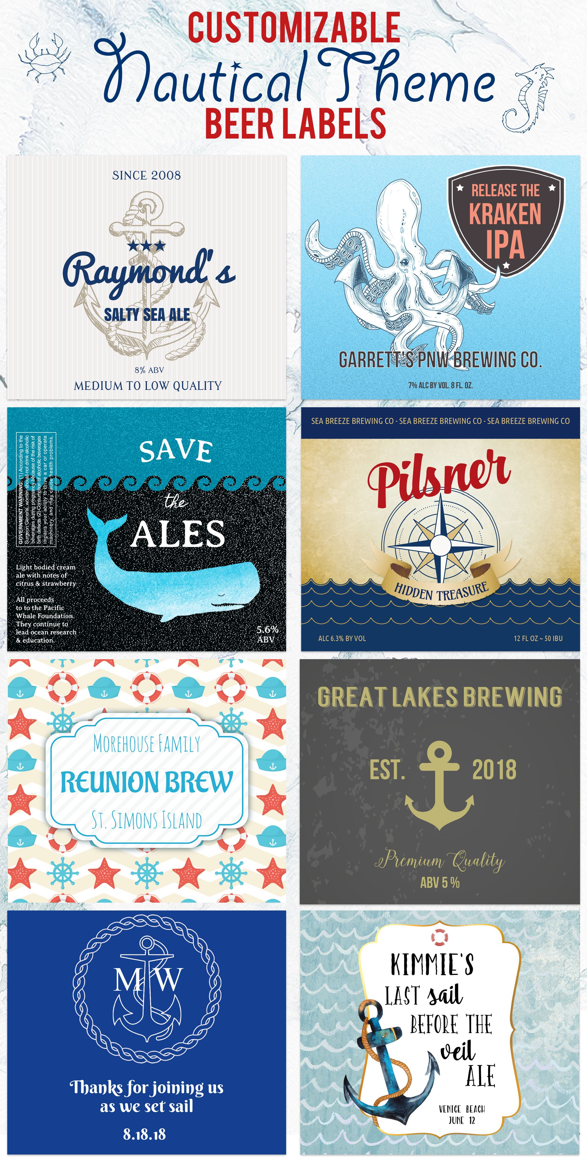 Nautical theme custom beer labels add your information to the label