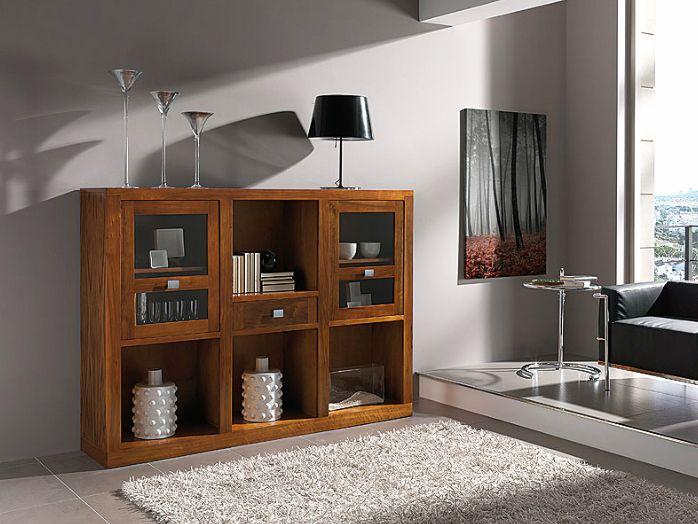 Aparador vajillero realizado en madera de nogal americano y con 2 puertas y 1 caj n mueble - Aparadores de salon ...