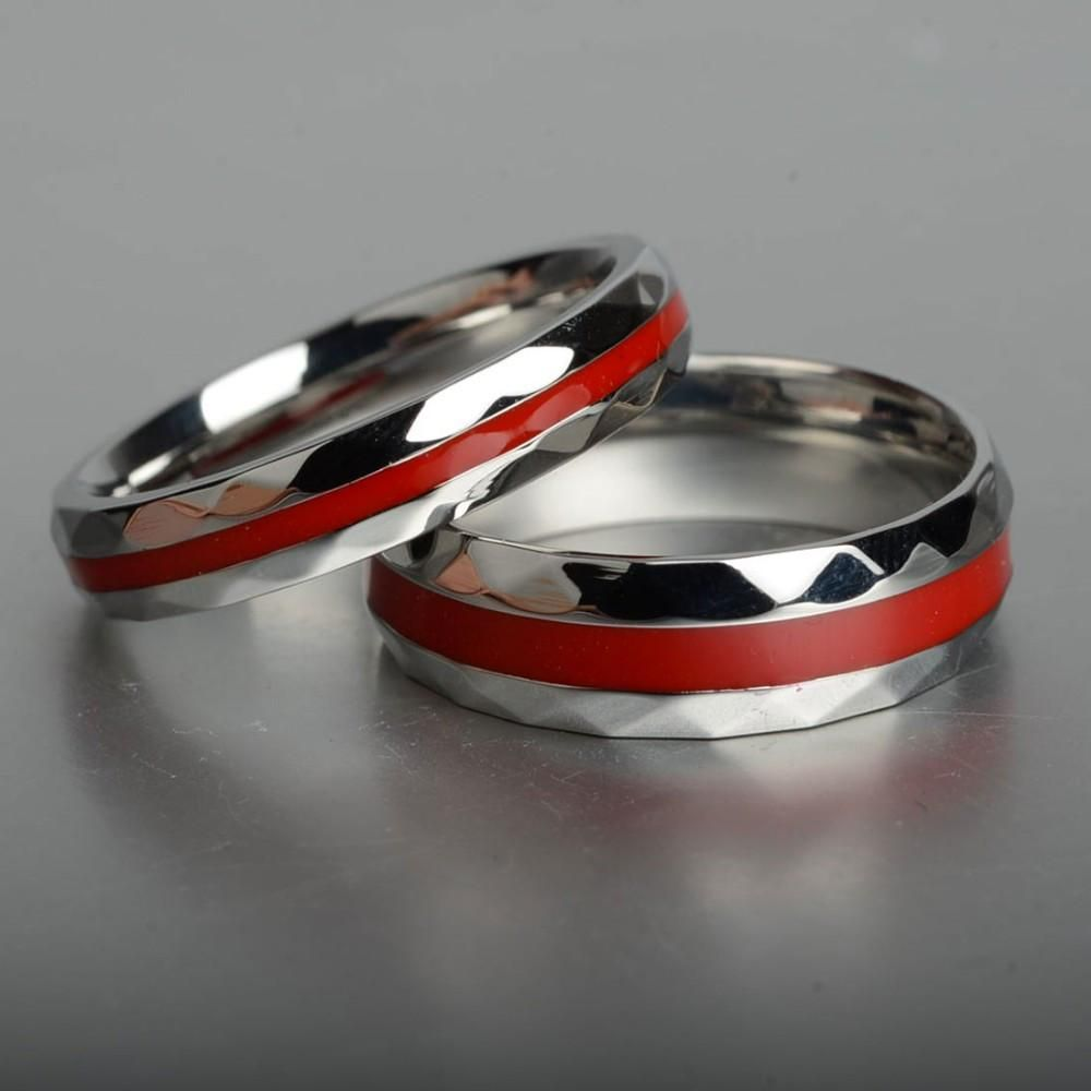 Thin Red Line Firefighter Couple's Wedding Band Rings Pluto99: Red String Wedding Rings At Reisefeber.org