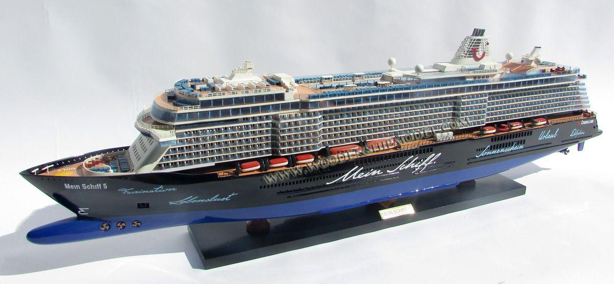 Handmade ship model Mein Schiff 5 ready for display