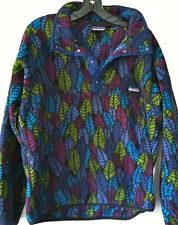 fa06cf80 Vintage SMALL Patagonia Snap-T Pullover Fleece Top Jacket Leaf Print US-Made