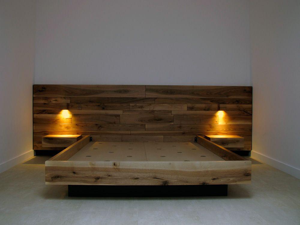 Onlywoodbcn | cama de madera de nogal madera maciza | alcoba ...
