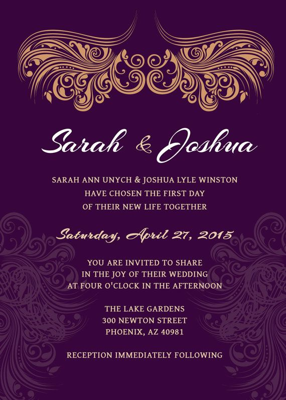 Wedding Invitation Deep Purple Gold Printable By Scripturewallart