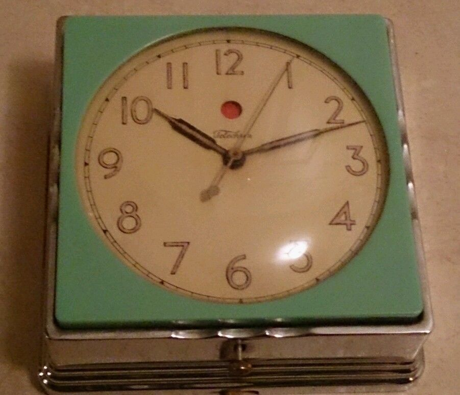 Vintage 1930s Art Deco Green Bakelite Telechron Kitchen Chrome Wall Clock 2f01 Chrome Wall Clock 1930s Art Deco Art Deco Clock