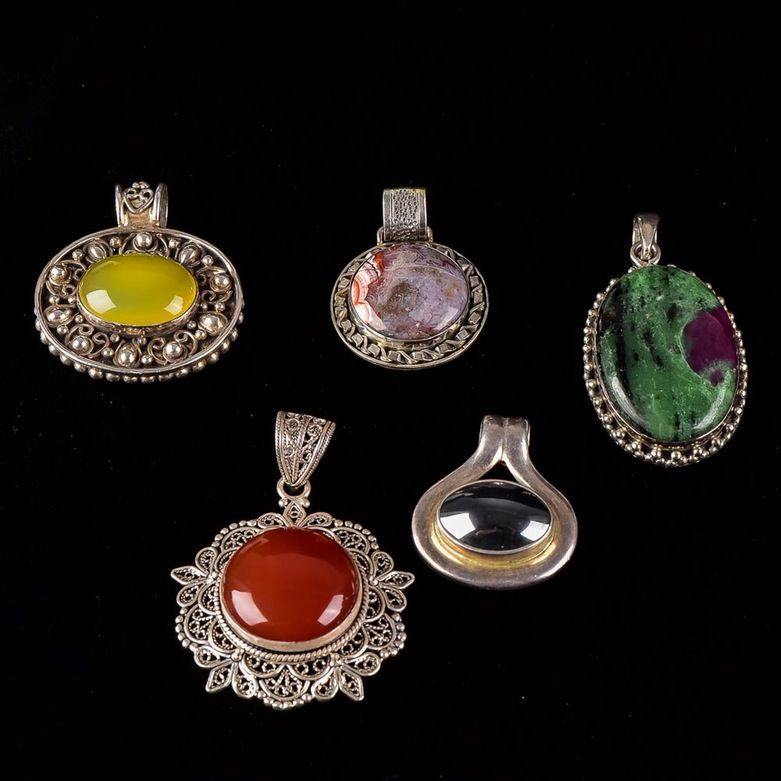 Collection of Silver and Stone Pendents