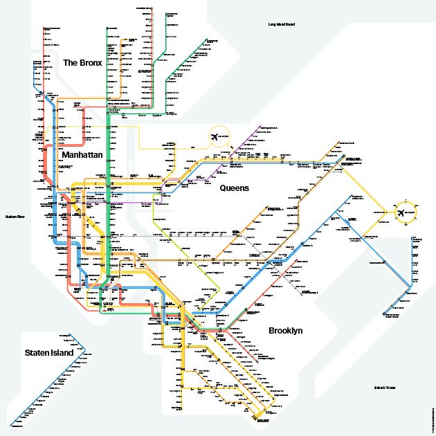 Massimo Vignelli\'s iconic NYC subway map - recreated ...