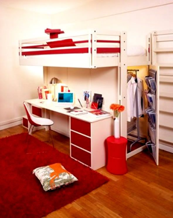 Bed Space Design contemporary bedroom design small space loft bed teenager student
