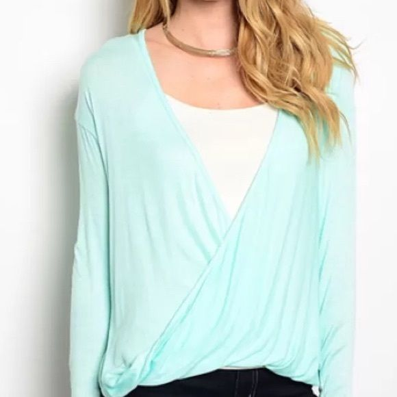 Michael Stars Blouse Cool mint sheer jersey lycra long sleeve Surflice Top NWT Hi-low label Size OS Michael Stars Tops Tees - Long Sleeve