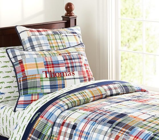Madras Quilted Bedding | Pottery Barn Kids | Kiddos' Room Ideas ... : boys plaid quilt bedding - Adamdwight.com