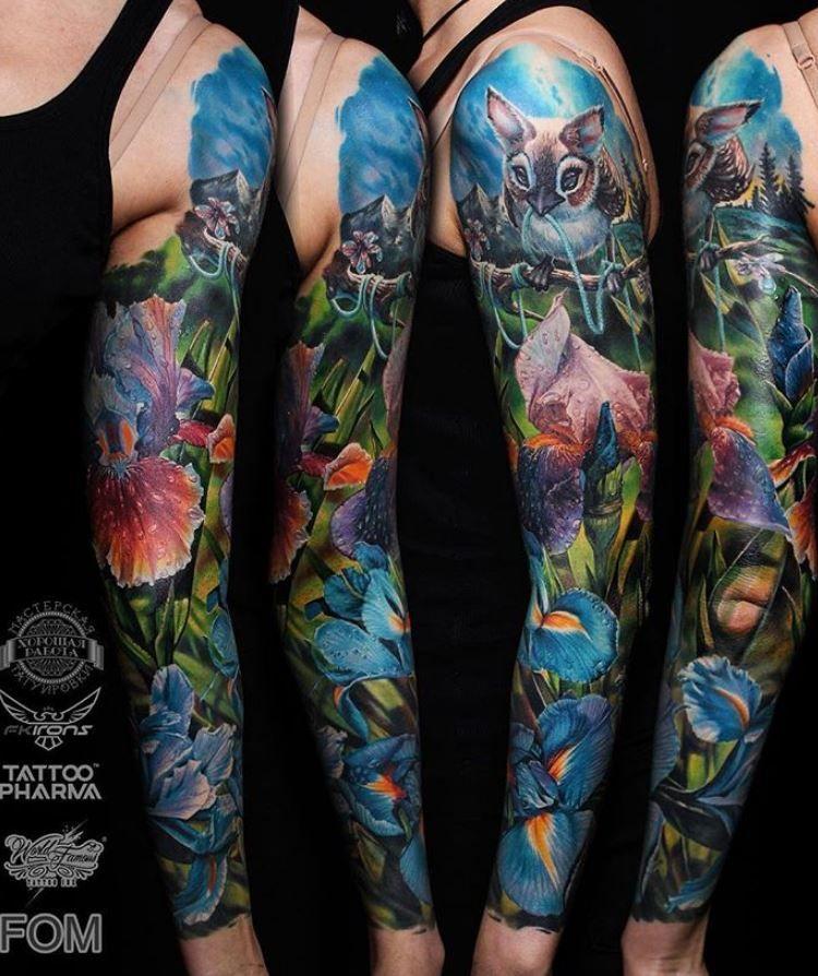 Tattoo Woman Reading: Phenomenal Nature Sleeve Tattoo