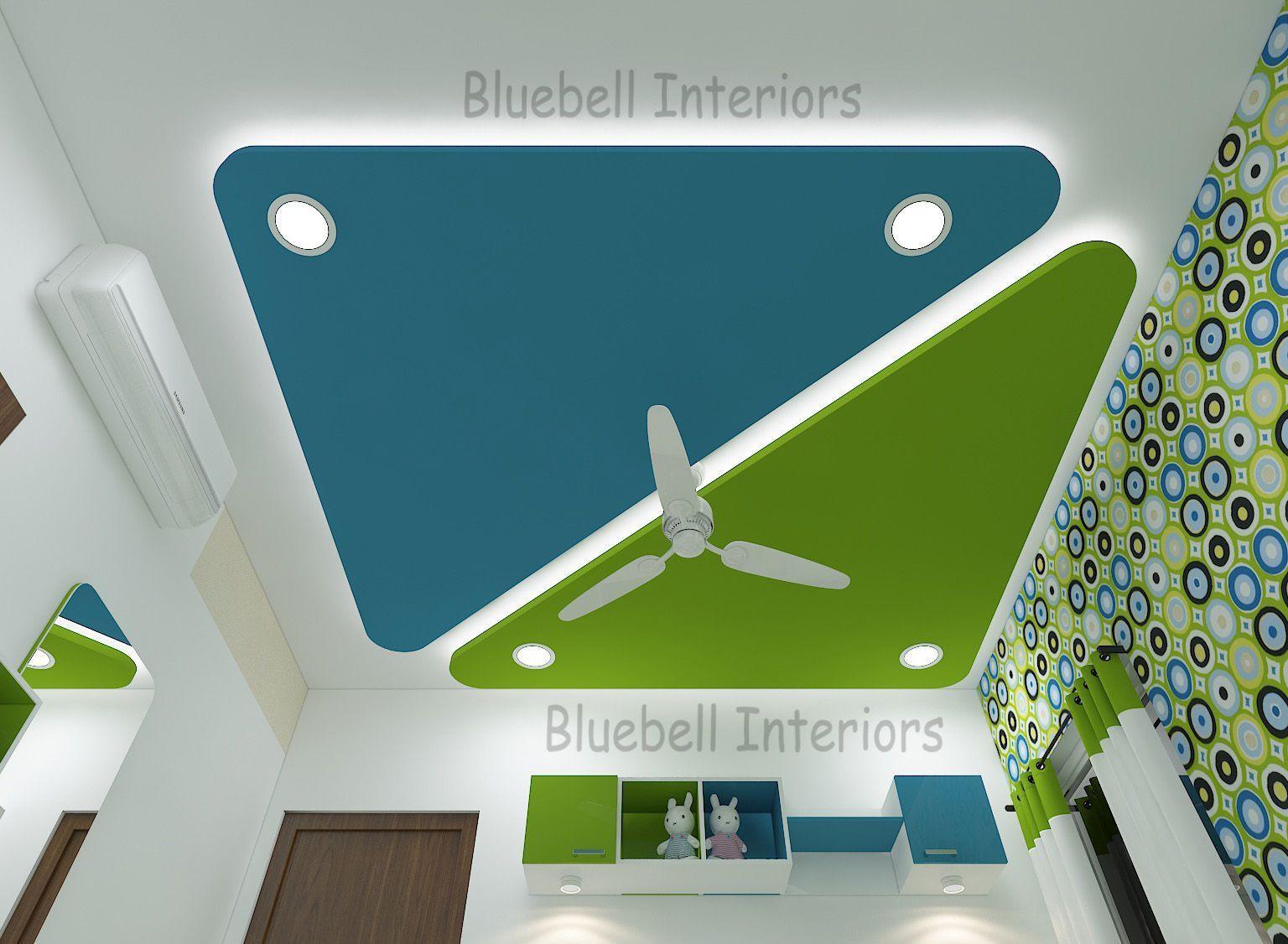 Kids Bedroom False Ceiling Triangular Ceiling Green Blue Decor Lighting Desig Pop False Ceiling Design Ceiling Design Bedroom Bedroom False Ceiling Design