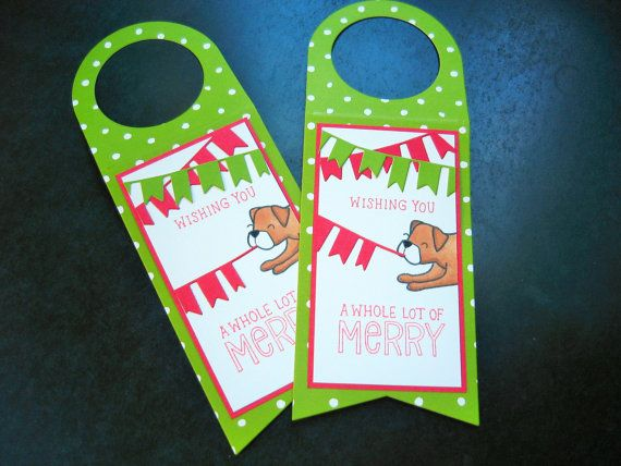 Christmas Wine Bottle Gift Tag Dog Lover Gift by apaperaffaire