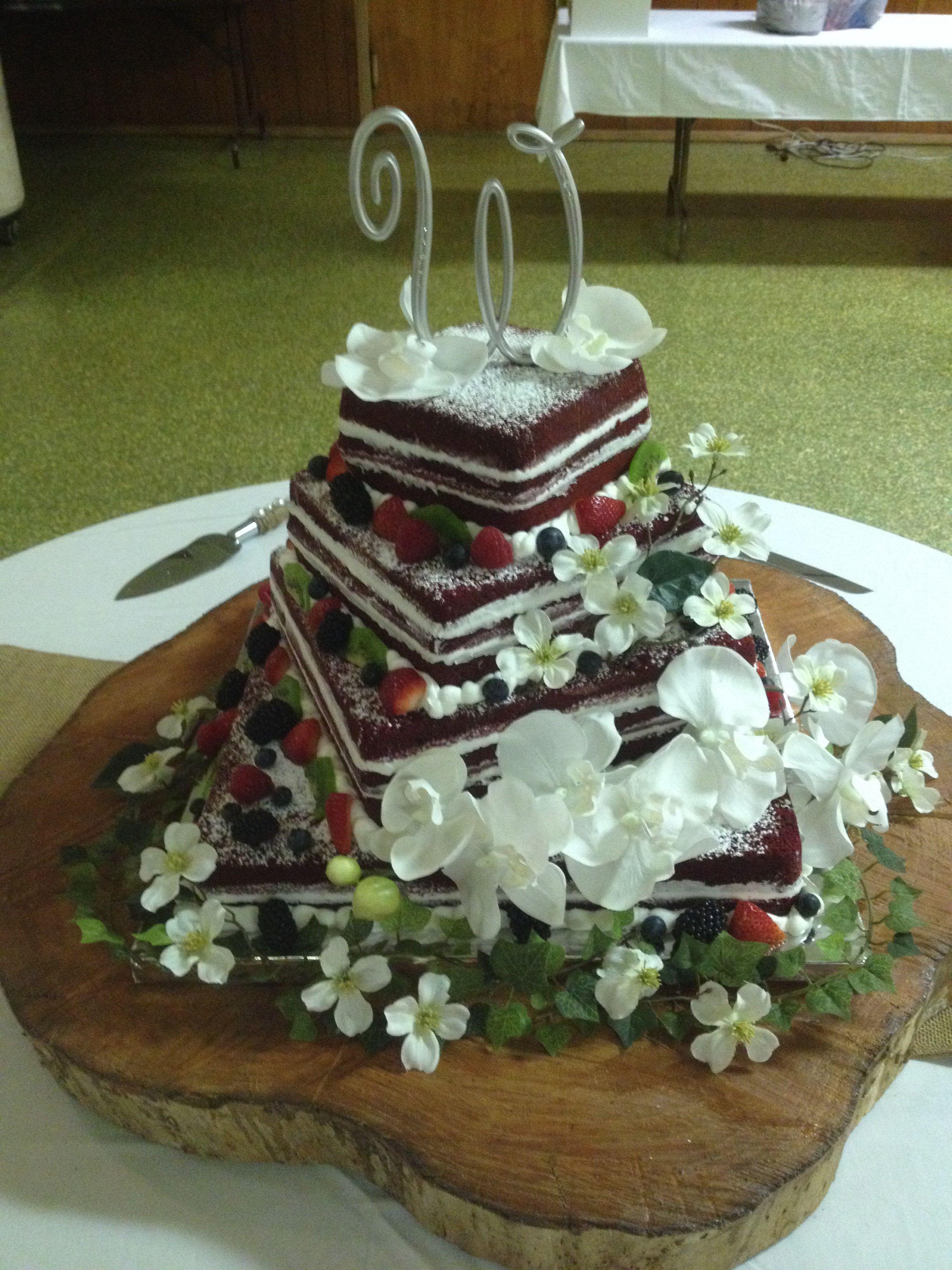 Naked red velvet wedding cake cakes pinterest red velvet
