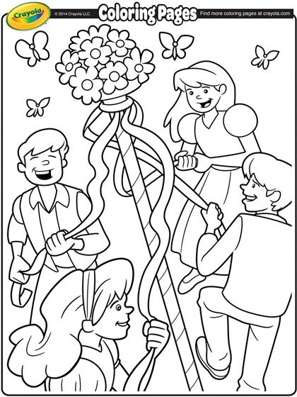 May Day Coloring Page Busy