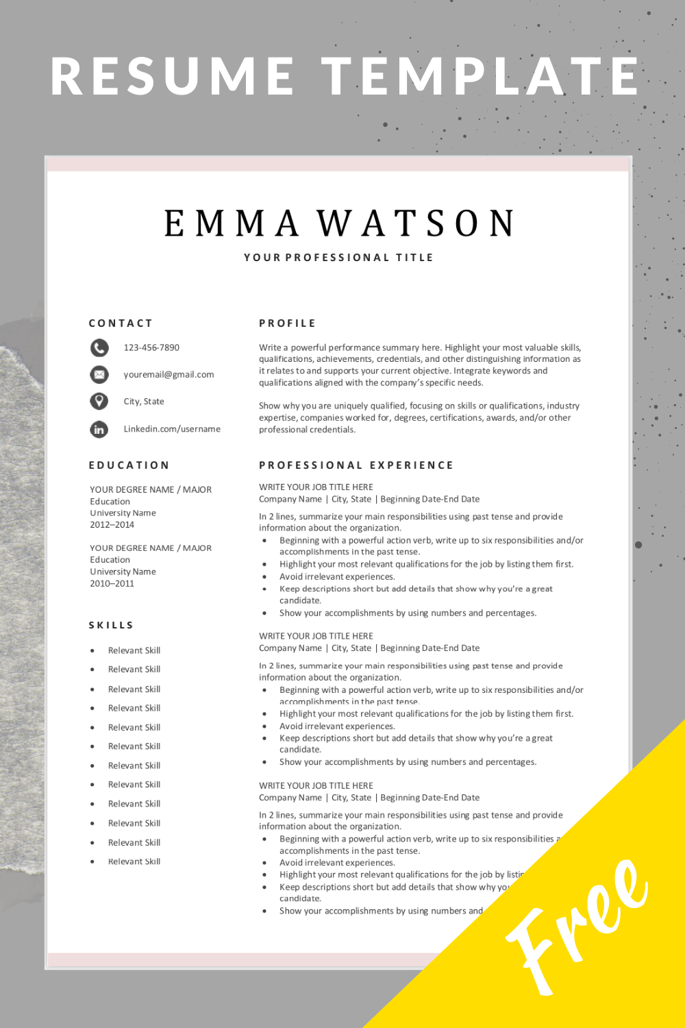 Simple Resume Template Download For Free In 2020 Job Resume