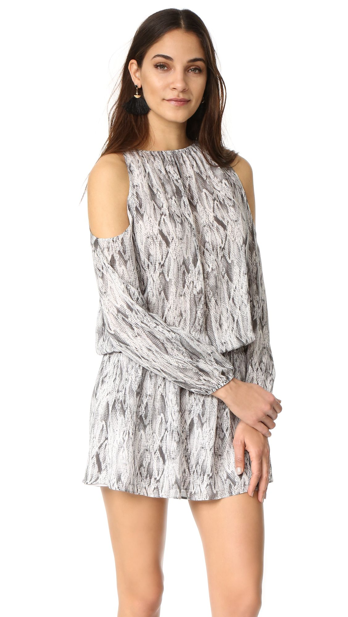 8b8b144e05f422 A snakeskin print details this silk crepe Ramy Brook dress. Cutout  shoulders and smocked waistband. Hook and eye back keyhole. Long sleeves ...