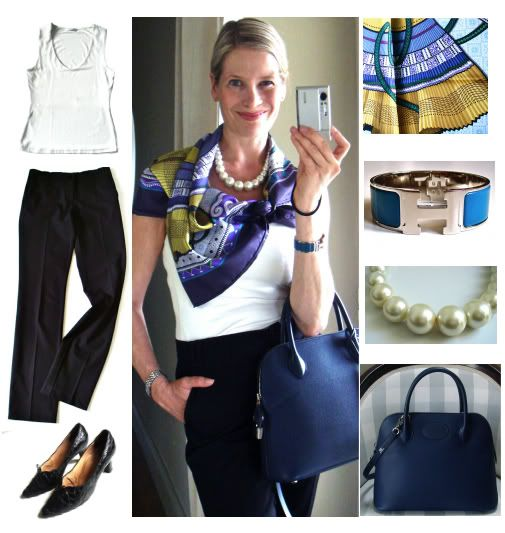 An Hermes scarf can just MAKE an outfit!! So classic and simple yet sophisticated I think!!  MaiTai's Picture Book: Capsule wardrobe #14 ~ Paris travel wardrobe at www.maitaispicturebook.com.