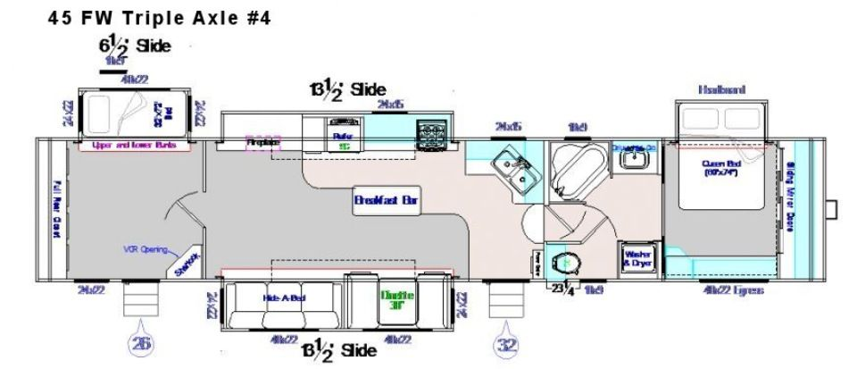 45 foot fifth wheel 4 slide outs 2 exit doors corner
